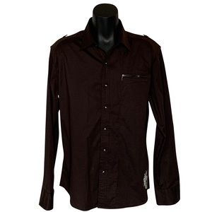 7 Diamonds Casual Embroidered Button-Down Shirt